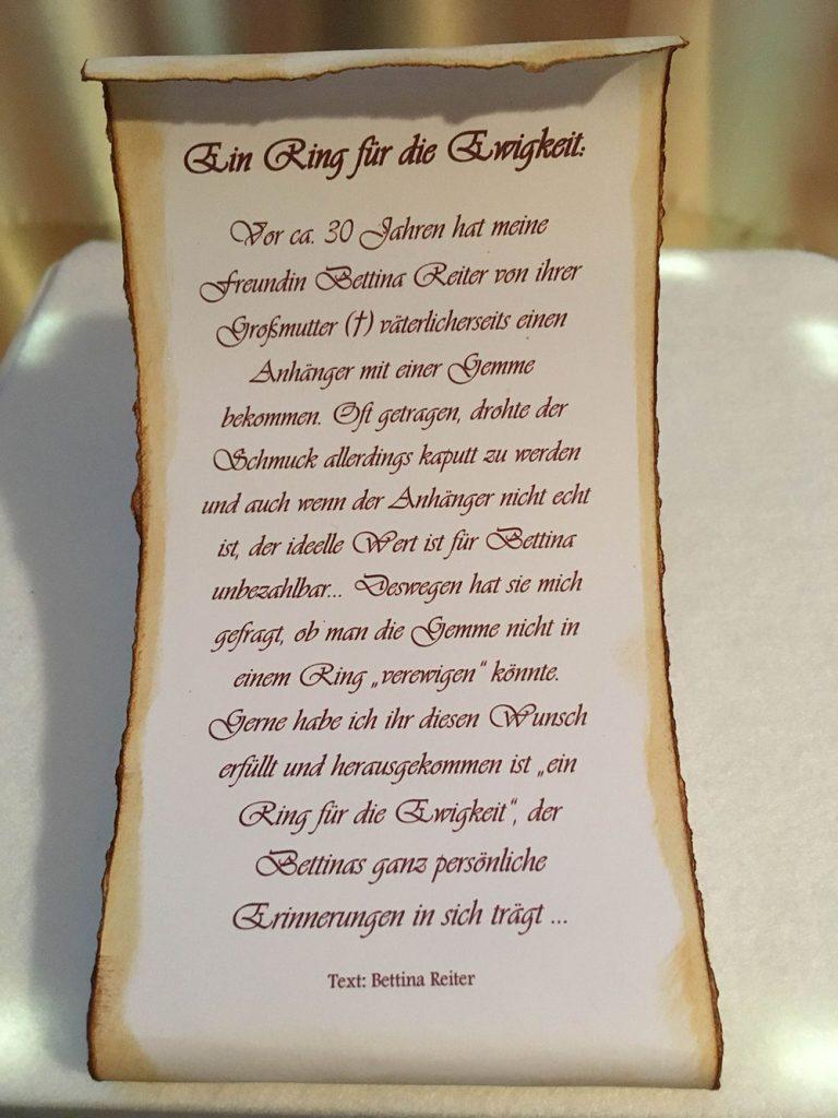 Text Ring für die Ewigkeit